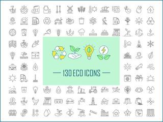 Fototapeta Ecology and nature care linear icons set obraz