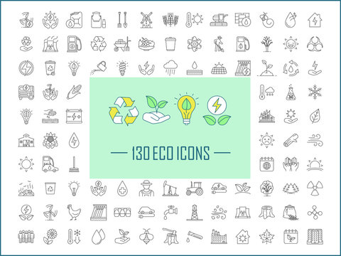 Ecology and nature care linear icons set