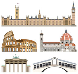 Fototapete - vector collection of landmarks icons: Palace of Westminster, Colisseum, Florence Cathedral, Brandenburg Gate and Rialto Bridge