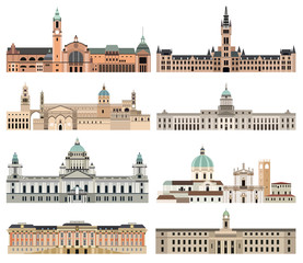 Fototapete - vector collection high detailed isolated city halls, landmarks, cathedrals, temples, churches, palaces and other skyline elements