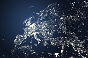 vector beautiful illustration of Europe cities lights map