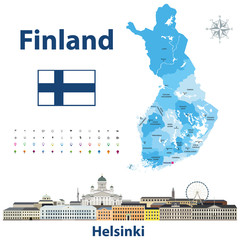 Fototapete - vector illustration of Finland regions map with names and capital cities on it. Helsinki cityscape