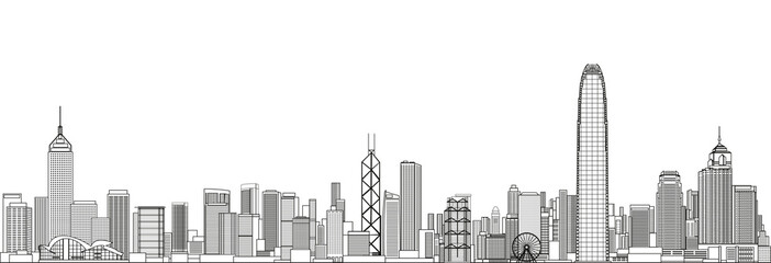 Fototapete - Hong Kong cityscape line art style vector detailed illustration. Travel background