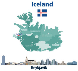 Fototapete - Iceland map with reykjavik city skyline. Vector illustration
