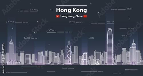 Fototapete Hong Kong cityscape line art style vector detailed illustration. Travel background