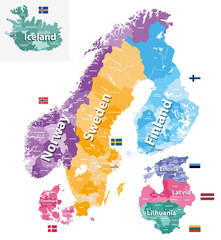 Fototapete - Scandinavia and Baltic countries political detailed map. Vector illustration