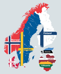 Fototapete - Scandinavia and Baltic countries political detailed map mixed with national flags. Vector illustration