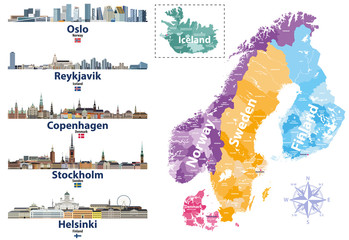 Fototapete - Scandinavian countries map with capital cities skylines icons. Vector illustration
