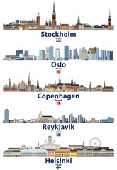 Fototapete - vector illustration of Stockholm, Oslo, Copenhagen, Reykjavik and Helsinki cities skylines with flags of Sweden, Norway, Denmark, Iceland and Finland