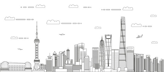 Fototapete - Shanghai cityscape line art style vector detailed illustration. Travel background