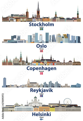 Fototapete vector illustration of Stockholm, Oslo, Copenhagen, Reykjavik and Helsinki cities skylines with flags of Sweden, Norway, Denmark, Iceland and Finland