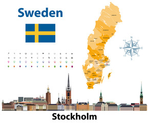 Fototapete - Vector illustration of Sweden counties map with Stockholm city skyline