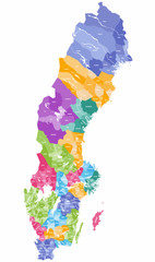 vector colorful map of Sweden municipalities colored by counties