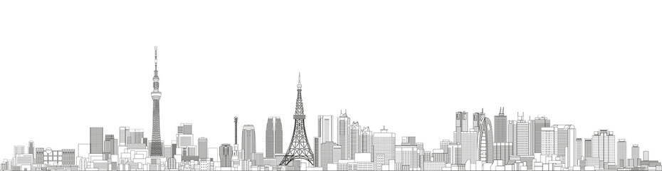 Tokyo cityscape line art style vector detailed illustration. Travel background