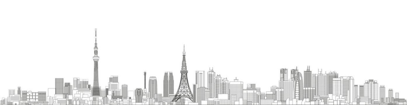 Tokyo cityscape line art style vector detailed illustration. Travel background