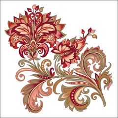 Tuinposter Abstract bloemen decorative vintage golden and red flower with patterns