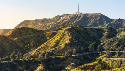 Panorama of the Hollywood Hills and Sign in Los Angeles California, USA