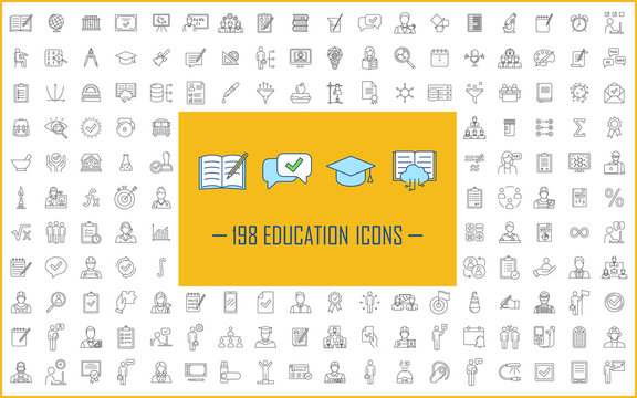 Education linear icons big set. Thin line contour symbols. Isolated vector outline illustrations. School, university, business education. E learning, online courses, classes. Editable stroke