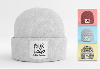 Gray Beanie with Label Mockup