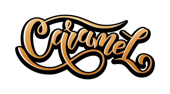 Caramel. Vector hand lettering word in gradient color with black outline isolated on white background. Concept for logo, card, typography, poster, print. 3d