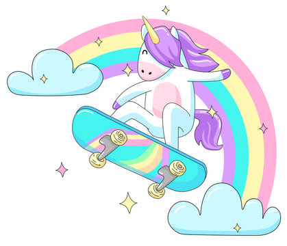 Cool unicorn skater. Cute vector illustration