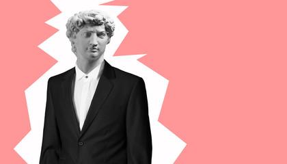 Modern art collage. Concept Gypsum head of David's Man in suit.