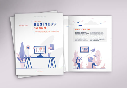 Business Brochure Layout with Colorful Illustrations