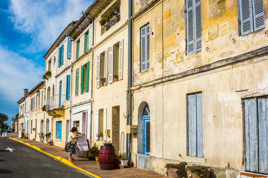 Bourg sur Gironde, France - October 24, 2013. Traditional french houses