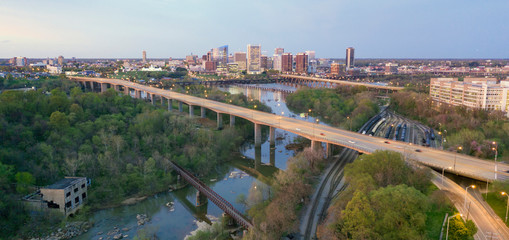Sunrise Comes Lighting the Roads and Buildings of Richmond Virginia USA
