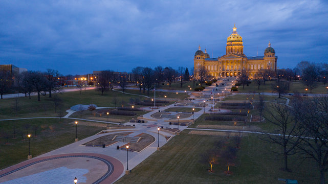 Night Falls as Storm Brews at the Iowa State Capital Building