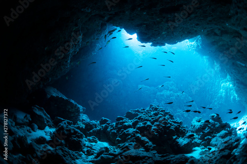 Wall mural Underwater cave