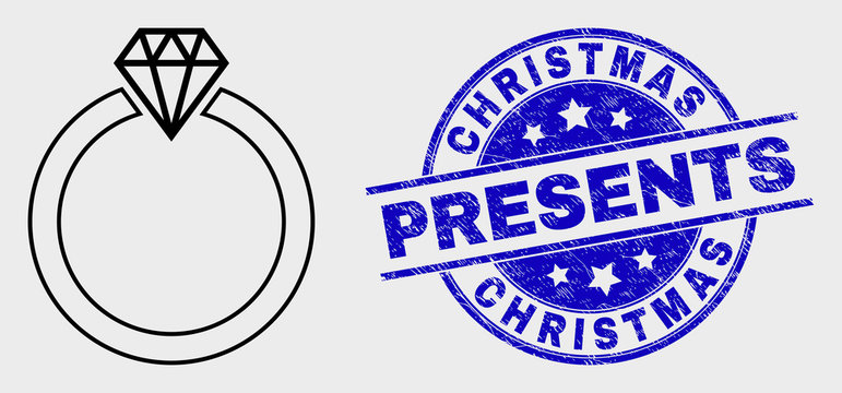 Vector stroke jewelry ring pictogram and Christmas Presents seal stamp. Blue round scratched seal with Christmas Presents title. Black isolated jewelry ring pictogram in stroke style.