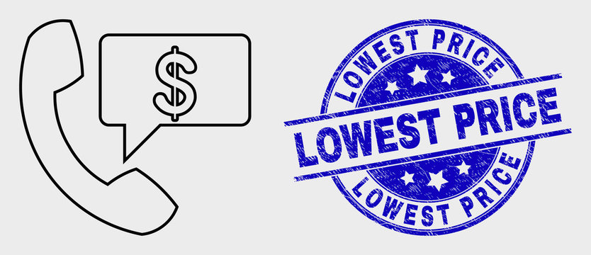 Vector contour financial phone message pictogram and Lowest Price seal stamp. Blue rounded distress seal stamp with Lowest Price title. Black isolated financial phone message icon in stroke style.