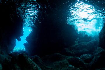 Wall Mural - Underwater cave in Miyakojima Island