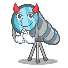 Foto auf Leinwand Bauernhof Devil miniature telescope above the character table