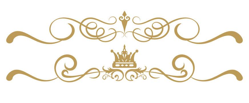 Design elements on white background, ornament royal style, antiques, vintage, vector illustration