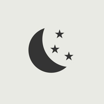 Moon and stars vector icon illustration sign
