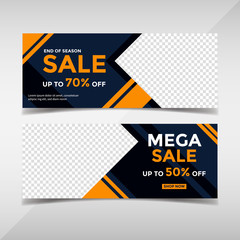 Sale banner collection. Banner template for fashion sale, business promotion with geometric shapes and space for your image. Vol.74