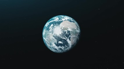 Wall Mural - motion graph half lit blue white planet Earth rotating about axis approaches and moves away in black space. 3d animation. Science and technology concept. 4K. Elements of this media furnished by NASA