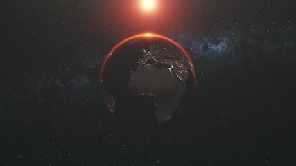 Wall Mural - motion graph of approaching Earth silhouette with illuminated cities on mainlands against Sun creating halo. 3d animation. Science and technology concept. 4K. Elements of this media furnished by NASA