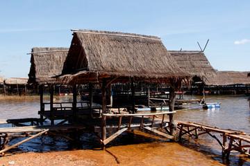 Landschaften am Ufer des Mekong in Südostasien