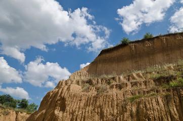 Sunny Blue Sky, soil and a hill near the city Ruse