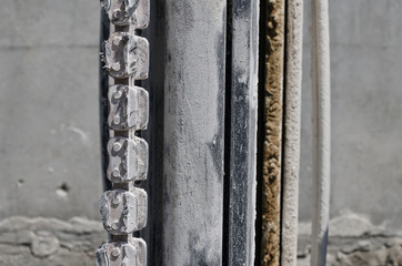 Closeup white chain link. Closely and inseparably connected