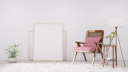 Modern vintage interior of living room, Blank poster on white wall, Armchair with pink cushion - 3D Rendering