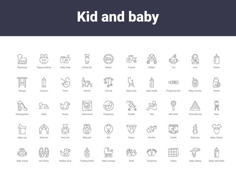 kid and baby outline icons