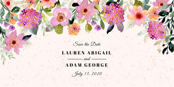 save the date with floral frame watercolor background