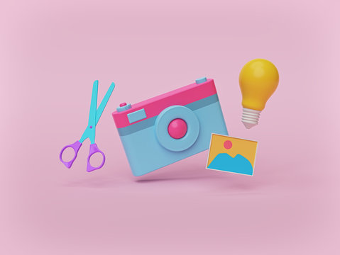 camera, scissors, photo and light bulb isolated on pastel pink background. photography ideas concept. 3d rendering