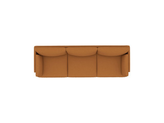 Brown leather sofa top view with path selection