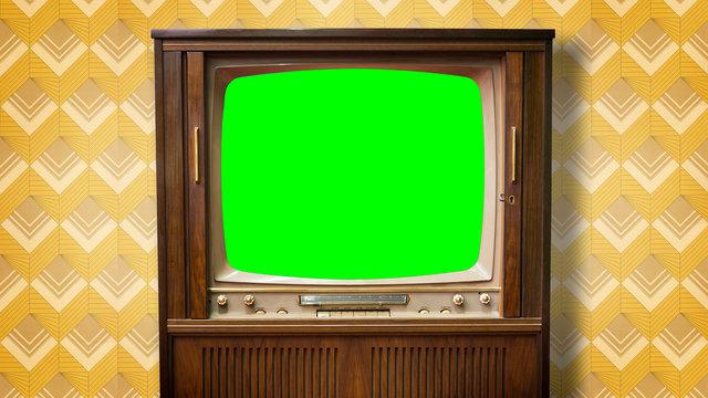 Alter Fernseher mit greenscreen im Bildformat 4K