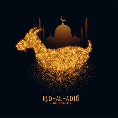 Obraz Eid Al Adha greeting with goat and mosque design - fototapety do salonu